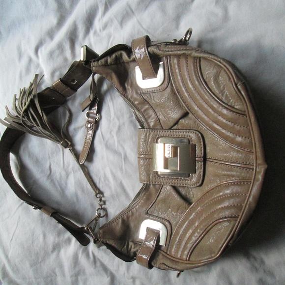 Guess Handbags - Guess Camel Leona Tan Satchel Purse Buckle Bling..